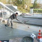 rectification de pente sur une dalle à la station d'épuration d'Orp – Jauche